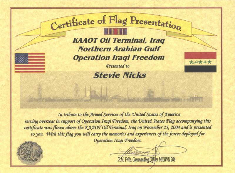 Afghanistan Flag Flying Certificate Template